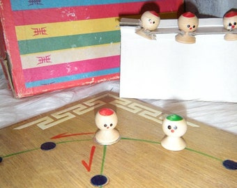 Vintage Oriental Game ~ Wooden Game Board ~ Chinese Japanese Toy ~ Antique
