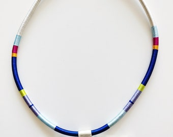 Silk and sterling silver color blocked necklace