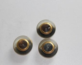 haberdashery button supplies round fancy green and gold