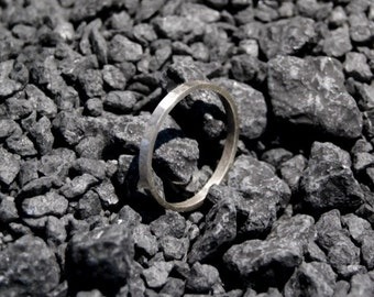 Sterling silver hammered band ring, 2mm x 1mm band ring, oxidized ring, friendship ring
