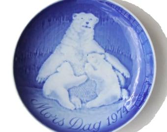 Vintage Bing & Grondahl Plate Polar Bear Mother's Day 1970 Mors Dag
