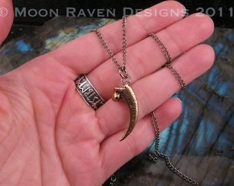 Owl Talon Necklace in Solid Bronze Woodland Bird 013