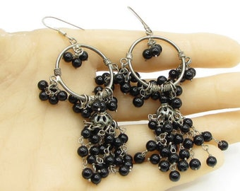 925 sterling silver - bohemian black onyx beads dream catcher earrings - e1029