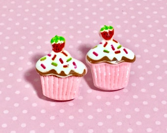 Pink Cupcake Studs with Sprinkles and a Strawberry on Top, Food Studs, Kawaii Studs, Cute Studs, Large Fun Novelty Studs, KreatedbyKelly