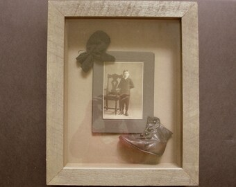 Vintage Memory Shadow Box - Instant Ancestor - Picture, Mitten and Boot in Barn Siding Frame