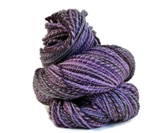 Handspun Yarn, Hand Dyed BFL, Blue Faced Leicester wool, 2 ply Aran weight, 175 yards, purple, black handspun BFL, bfl yarn - Maleficent