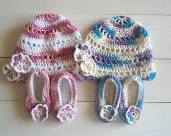 Crochet Baby Hat and Booties Set, Baby Girl/Boy Crochet Hat, Crochet Booties, Baby Beanie, 100% Cotton Yarn Hat, 3 - 6 months Hat, Baby Hat