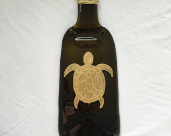 Sea Turtle Melted Wine Bottle Tray / Spoon Rest / Cheese Tray