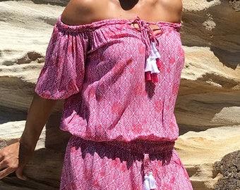 PATTY- Off Shoulder Low Waist Tassel Dress