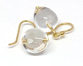 Rock Crystal Acorn Earrings Crystal Quartz Earrings Quartz 18k Acorn Earrings Rock Crystal Earrings April Birthstone Womens Gift for Wife