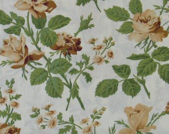 Brown and Tan Roses & Green Leaves on White Background 100% Cotton Quilt Fabric, Evelyn by Whistler Studios for Windham Fabrics, WIF41982-3