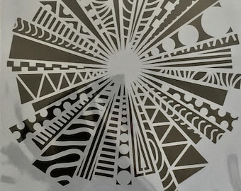 TRIANGLE TRANSITIONS 2 Zentangle laser cut stencil  9 x 12