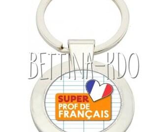"""DELUXE """"FRENCH SUPER TEACHER"""" KEYRING"""