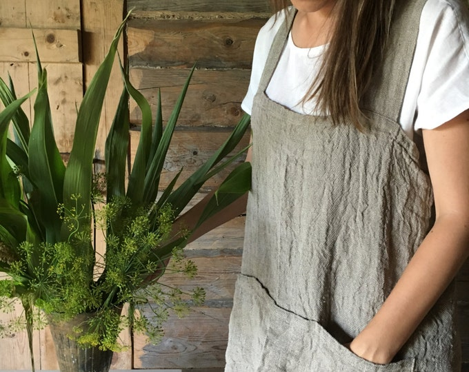 Rustic Pinafore Apron, Japanese Apron, Long Linen Apron, Kitchen Apron, Crafts Apron, Womens Apron, Vintage, Handmade, Cross over apron