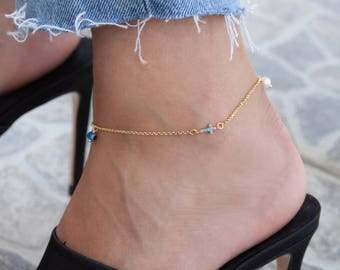 Gold Cross Anklet, Sideways Small Cross, Silver Cross Anklet, Foot Jewelry, Body Jewelry, Ankle Bracelet, Beach Jewelry, Silver Anklet