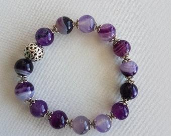 Agate bracelet Stretchy bracelet gemstones jewelry NZ00040