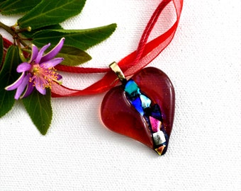 Fused dichroic glass pendant red heart transparent