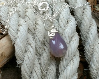 Chalcedony Sterling Silver Pendant lavender blue