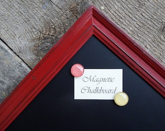 SET Magnetic Chalkboard Colonial Red Distressed Vintage Style Frame - Magnetic Board - Magnetic Board Set - Magnet Set - Red Chalkboard
