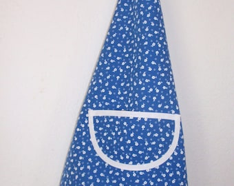 4/6 years old kids apron blue white flowers.