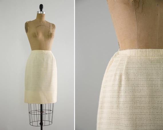 vintage 1960s pencil skirt   ivory 60s wool skirt   white knit wool skirt