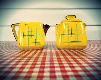 Vintage Stanford Sebring O Two-piece Creamer and Sugar Bowl
