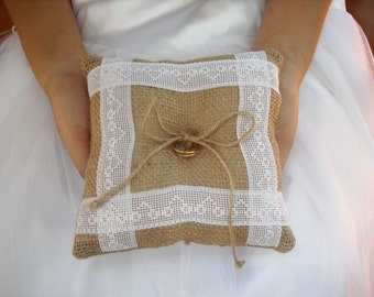 Burlap ring pillow Burlap Ring Bearer Pillow with White and Gold details lace Ring cushion Woodland / Rustic / Cottage style Weddings