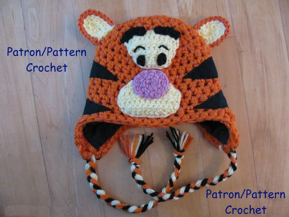 crochet PATTERN Tiger hat inspired by Tigger in Winnie the