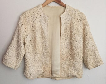60s RIBBON KNIT silk box jacket - Vintage cream formal bolero - Ivory evening cardigan