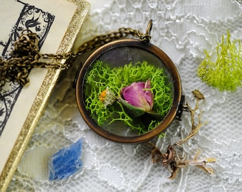 Real Rose necklace, Mother's day gift, Boho jewelry, Flowers, Terrarium jewelry, Moss locket, Botanical, Nature inspired