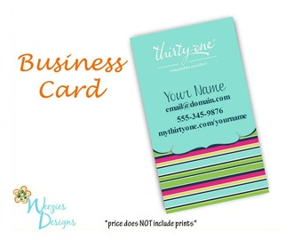 Thirty-One Preppy Pop Vertical Business Card, Direct Sales Marketing, Independant Consultant, Directs Sales Business Card