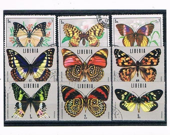 Exotic Butterfly Stamp Selection | butterflies on large postage stamps - thematic topical collection | vintage stamps craft collage upcycle