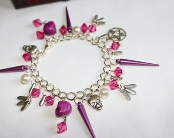Gothic Beaded Skull Bracelet Wiccan / Punk Pink / Fuchsia/Purple with Spikes / Halloween