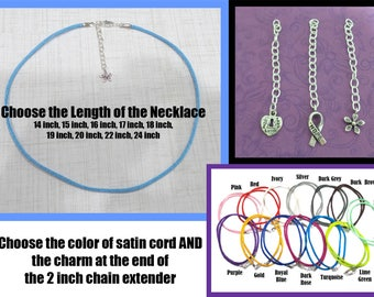 Adjustable Length - Satin Cord Necklace With Silver Plated Clasp - Choice of Color, Length and Charm Style