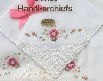 "Box of 3 New Vintage Real Guipure Lace ""Loom Master"" Embroidered Cotton Lawn Floral Swiss Handkerchiefs (Happy to Personalise)"
