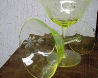 Vaseline Glass Pair Of Vaseline Glass Stemware Glasses Etched Vaseline Glass Stemware Uranium Glass Stemware