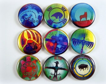 One Inch Native American Symbols Flatback Buttons, Pins, or Magnets 12 Ct.