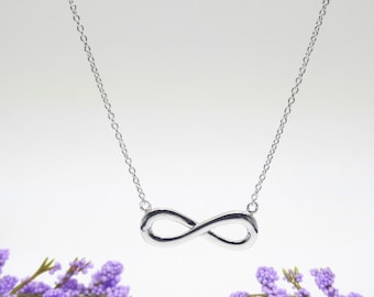 Plain Infinity Eternity Necklace Gold Vermeil 925 Silver Yellow Rose