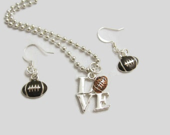 Football LOVE Necklace and Earring Set