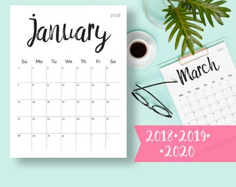 Printable Calendar 2018, 2019 2020 2018 Desk Calendar PDF Download Planner 2018 Calendar Pages, Digital Monthly 2018 2019 Calendar Printable