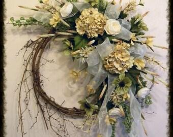 All Season Wreath, Spring Summer Wreath For Front Door Wreaths, Hydrangea Wreath, Elegant Summer Door Wreath, Everyday Wreath, Floral Wreath