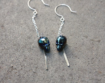 Luxe Swarovski Crystal Skull Drop Earrings in Sterling Silver
