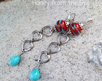 Turquoise and Red Earrings - heart earrings- Red Sky at Night - lampwork earrings