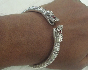 ethnic tribal silver bracelet cuff bangle makara heads rajasthan