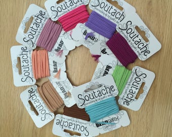 Stringing Materials ~ Beadsmith Soutache Ornamental Braid ~ 3 Yard Card - Lots of Colours