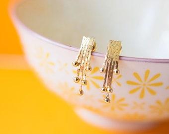 Gold Drop Earrings, Vintage 1980's Gold Drop Earrings, Gold Earrings, Gold Tone Earrings, Gold Dangly Earrings, 1980' Earrings (40)