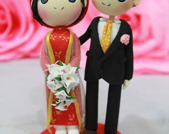 Wedding cake topper vietnam traditional wedding with beautiful vietnam ao dai traditional wedding with robe and groom in suit wedding cake topper clay doll junglespirit Gallery