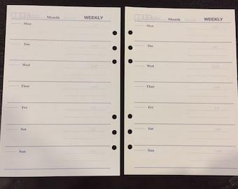A5 Filofax Kikki K Large Planner Weekly Paper Inserts 26 Sheets