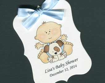Personalized Baby Shower Favor Tags, baby boy with puppy, set of 40