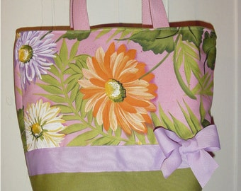 Purple Green Pastel  Flower Floral Big  Daisy Purse Tote BAG or Diaperbag